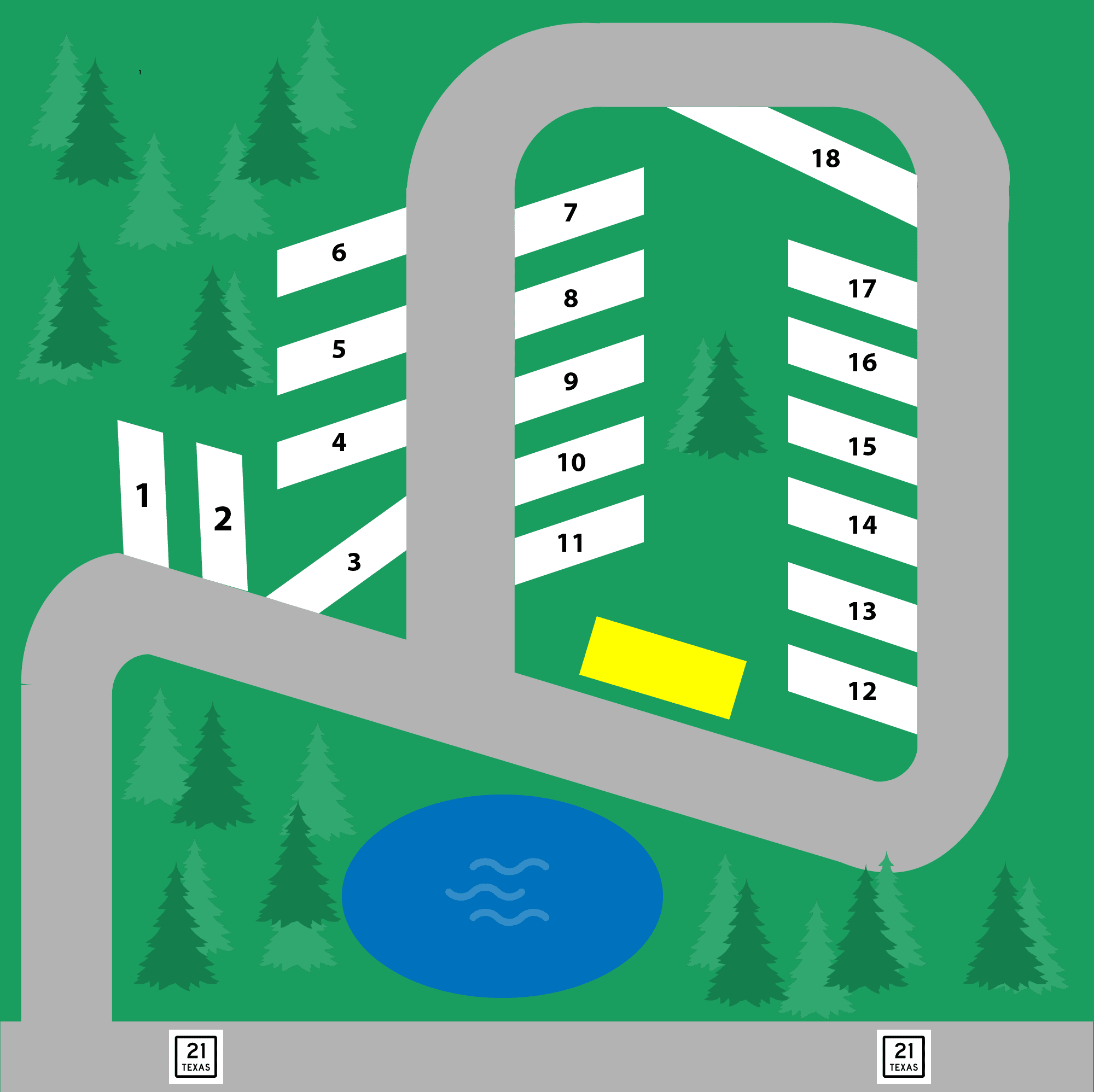 Bastrop Texas RV park site map and directions 2021